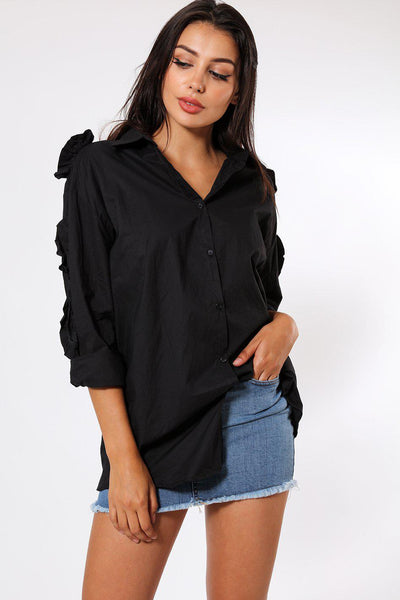 Cut Out Sleeve Detail Long Black Shirt-SinglePrice