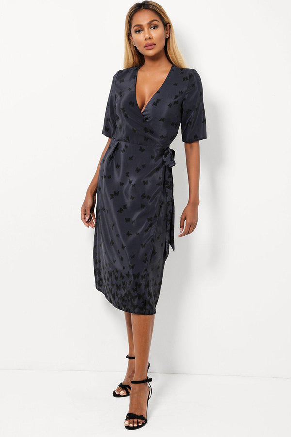 Butterfly Print Navy Wrap Dress-SinglePrice