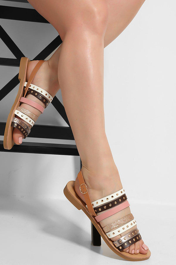 Brown Glitter And Studded Straps Flat Slip On Sandals - SinglePrice