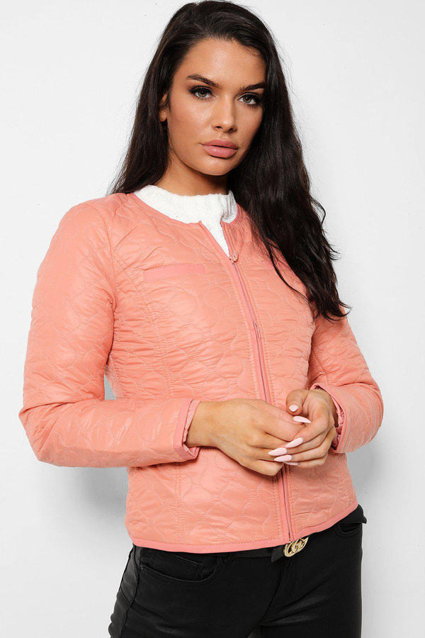 Pastel Peach Quilted Lightweight Jacket - SinglePrice