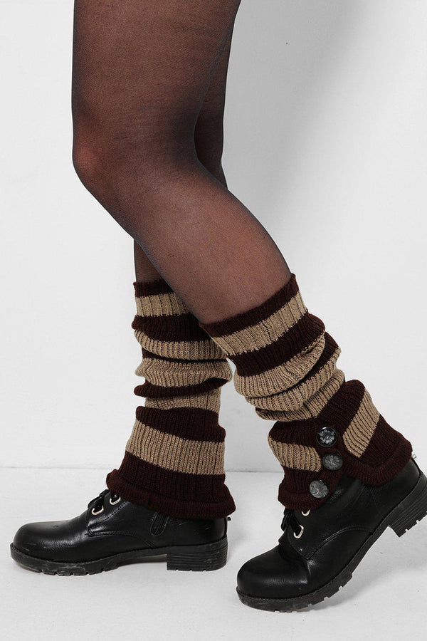 Three Buttons Embellished Brown And Beige Knitted Legwarmers-SinglePrice