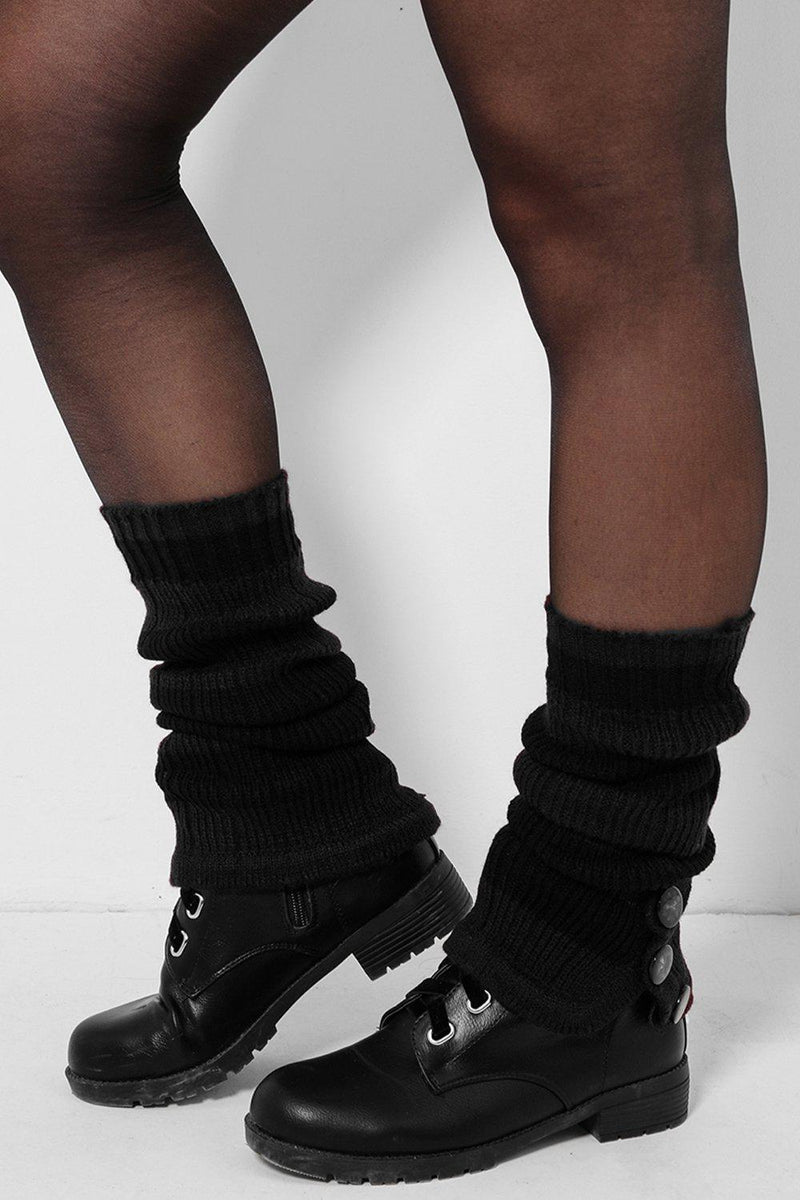 Three Buttons Embellished Black Knitted Legwarmers - SinglePrice