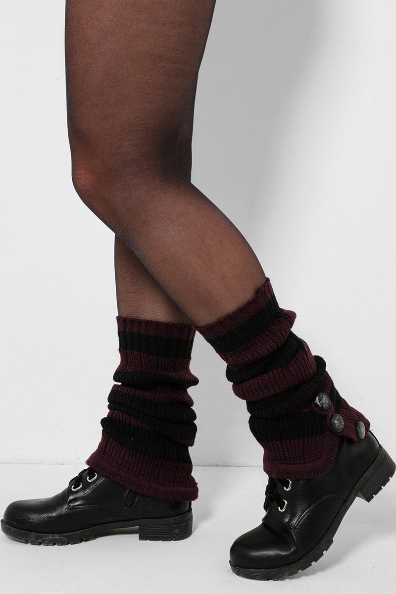 Three Buttons Embellished Black And Purple Knitted Legwarmers - SinglePrice
