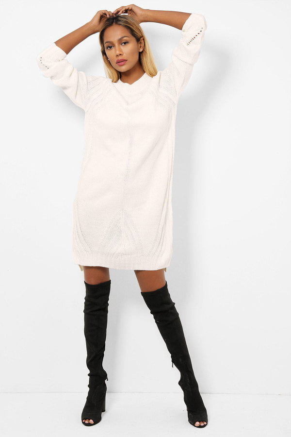 White Side Slits Knitted Midi Jumper Dress-SinglePrice
