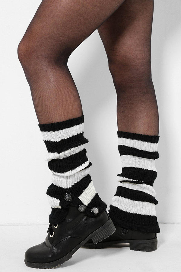Three Buttons Embellished Black And White Knitted Legwarmers - SinglePrice