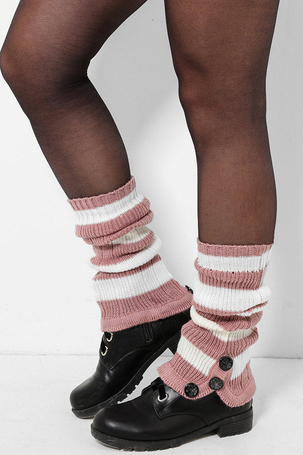 Three Buttons Embellished White And Pink Knitted Legwarmers-SinglePrice