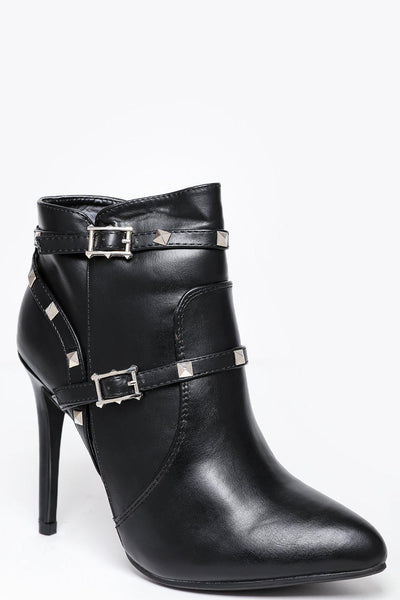 Studded Straps Black High Heel Ankle Boots-SinglePrice