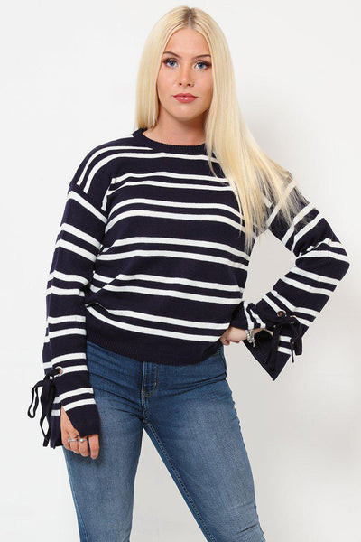 Split Sleeve Stripy Jumper-SinglePrice