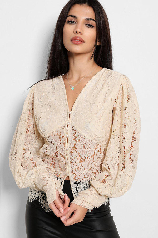 Beige Lace Puff Sleeves Blouse - SinglePrice
