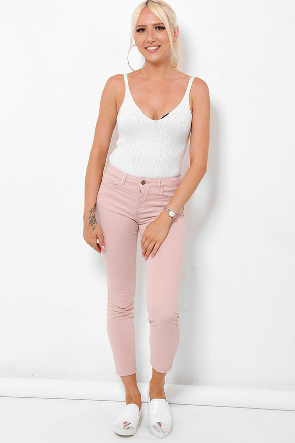 Cropped Dusty Pink Jeans-SinglePrice