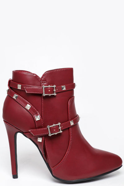 bcb86bdd6329 Studded Straps Red High Heel Ankle Boots-SinglePrice ...