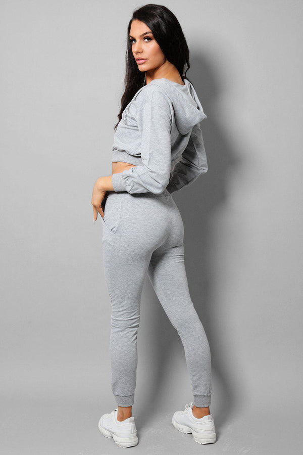Grey Exposed Zip Crop Top Ant Trousers 2 Piece Tracksuit-SinglePrice