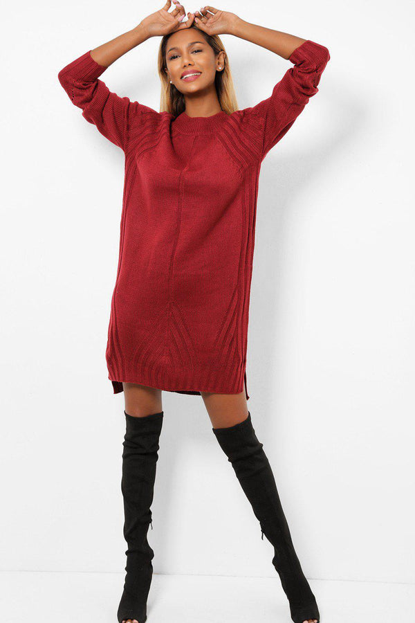 Burgundy Side Slits Knitted Midi Jumper Dress-SinglePrice