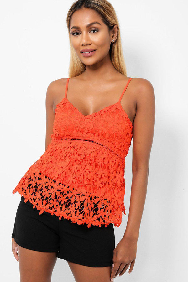 Lace Overlay Orange Cami Top-SinglePrice