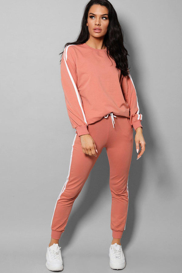 Peach Slogan Back Side Twin Stripe Detail 2 Piece Tracksuit - SinglePrice