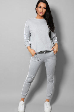 Grey Slogan Back Side Twin Stripe Detail 2 Piece Tracksuit - SinglePrice