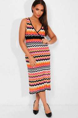 Hot Pink Lurex Knit Wrap Neck Sleeveless Midi Dress - SinglePrice