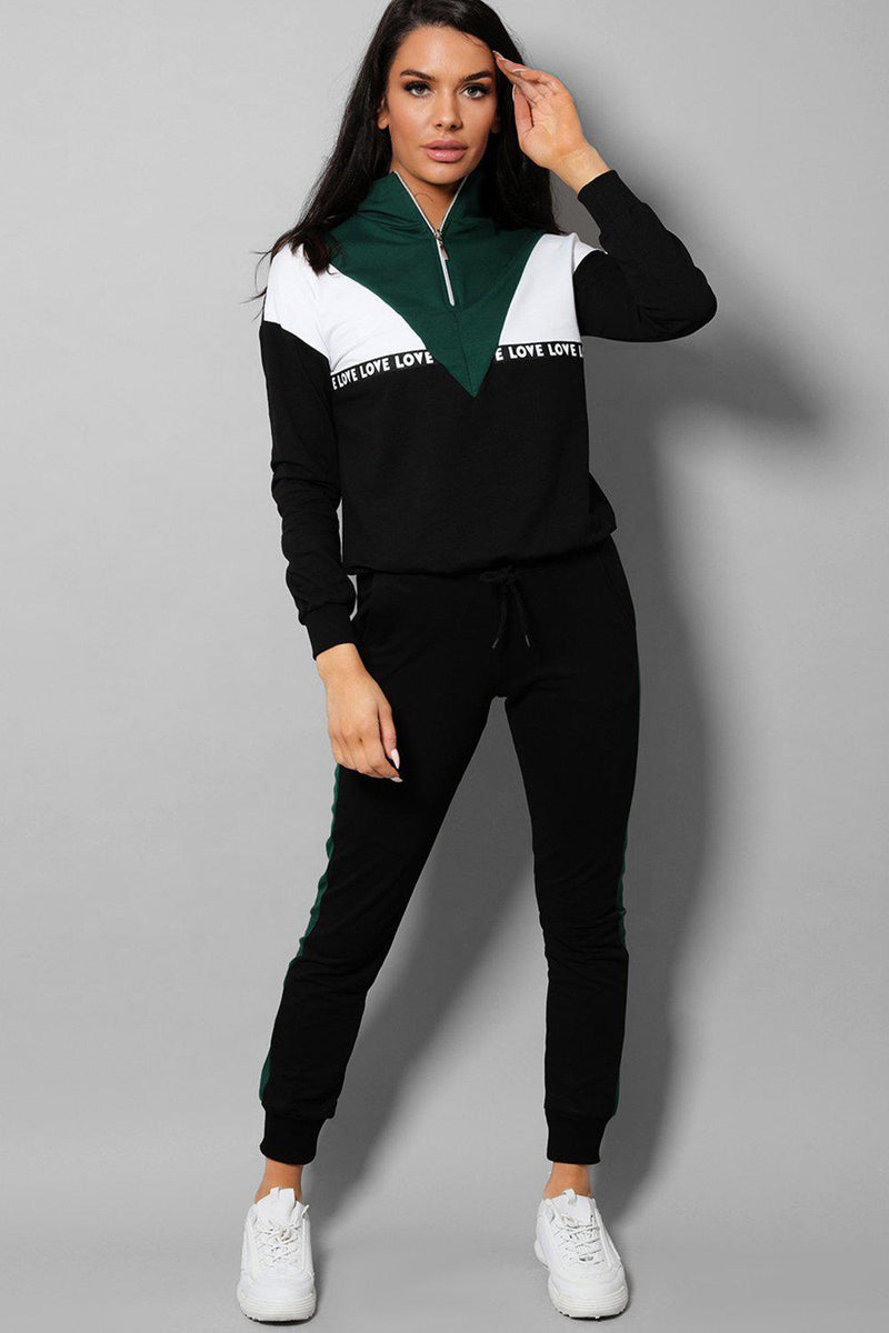 Green Colourblock LOVE Slogan 2 Piece Tracksuit - SinglePrice