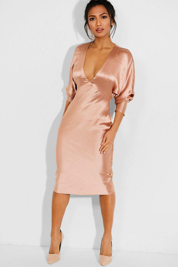 Satin Beige Batwing Sleeves Maxi Dress - SinglePrice