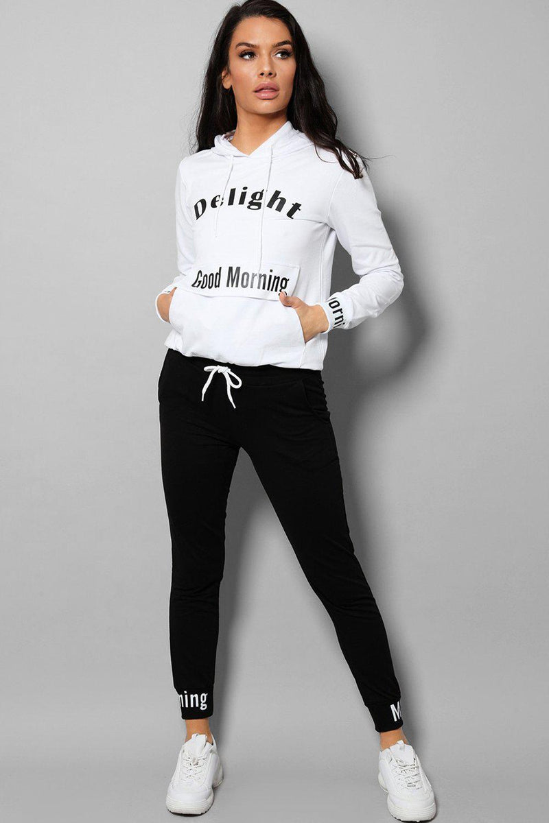 White And Black Good Morning 2 Piece Tracksuit - SinglePrice