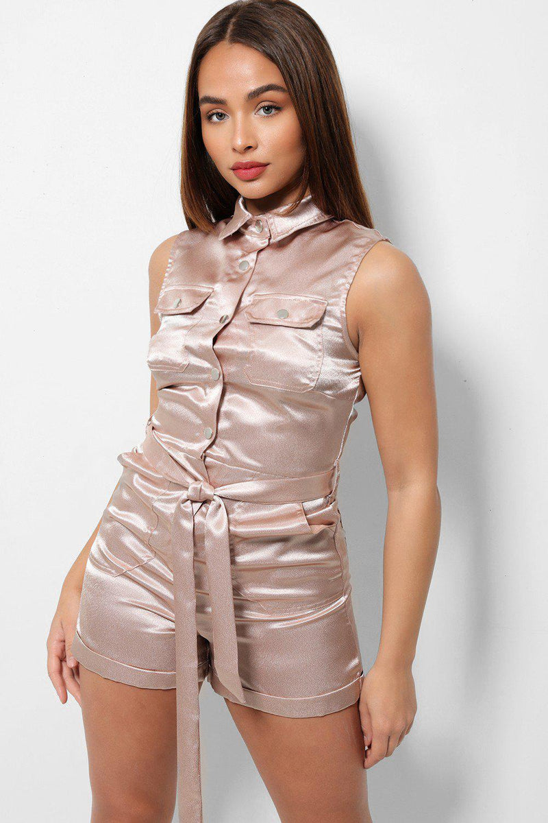 Nude Satin Patch Pocket Button Front Self Belt Playsuit - SinglePrice