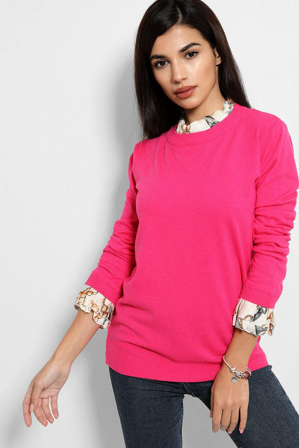Hot Pink Scarf Print Shirt Insert Pullover - SinglePrice