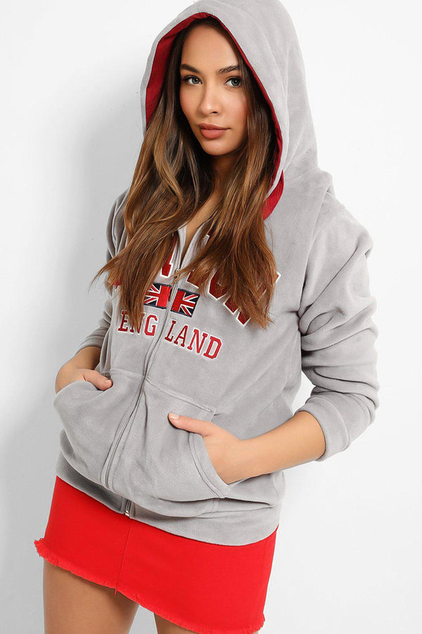 Grey Red London Plush Fleece Zipper Hoodie Sweatshirt-SinglePrice