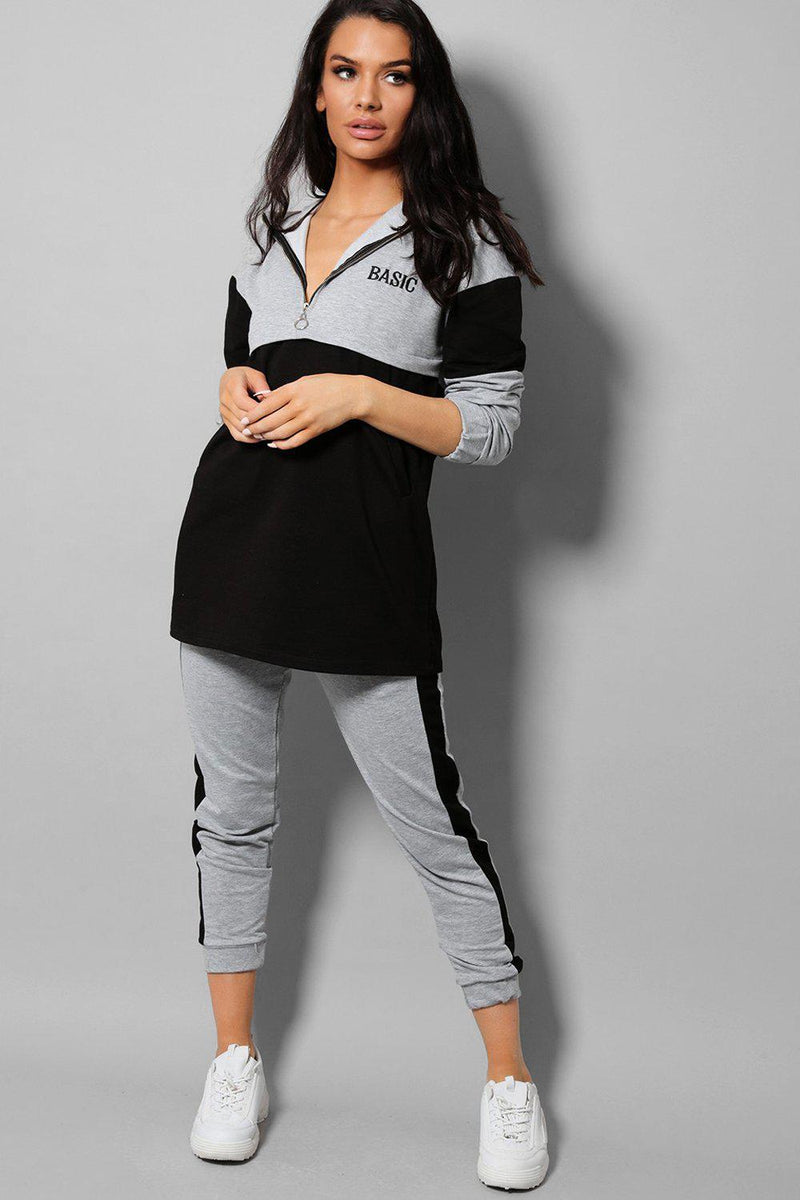 Black Colour Blocks Grey Basic 2 Piece Tracksuit - SinglePrice
