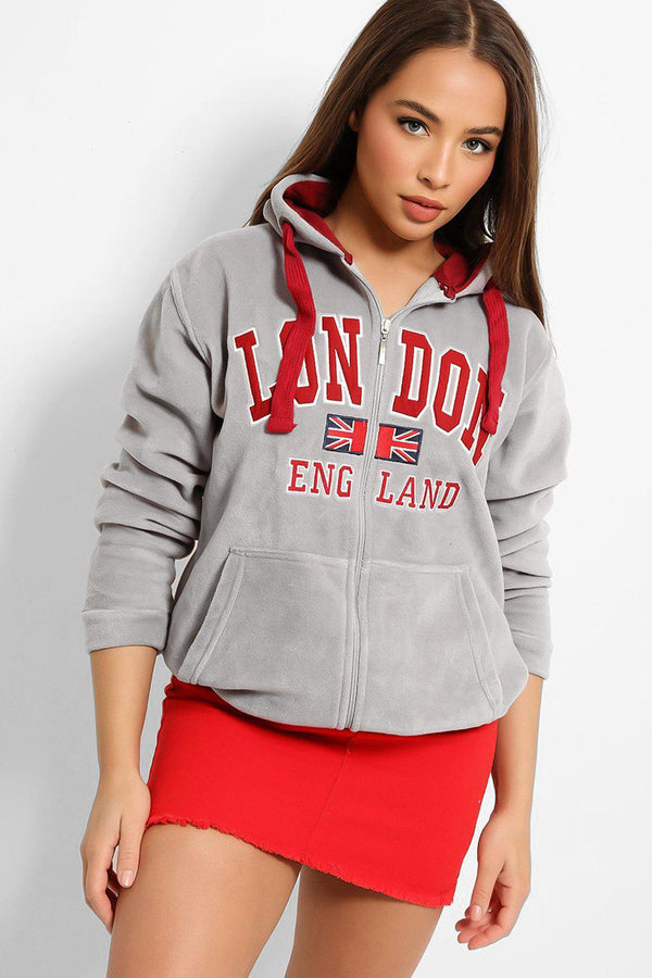 Grey Red London Plush Fleece Zipper Hoodie Sweatshirt