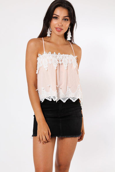 Lace Detail Pink Cami Babydoll Top-SinglePrice