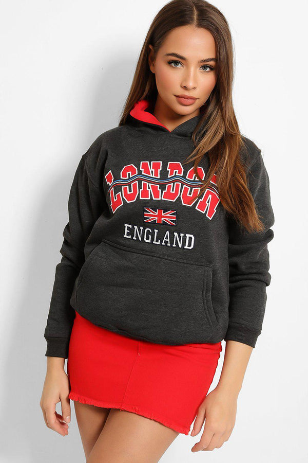 Dark Grey Red Wave London Kangaroo Pocket Hoodie - SinglePrice