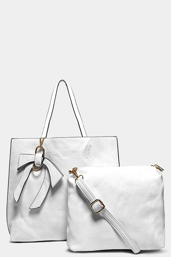 White Bow Charm Large Tote Bag With Medium Crossbody Bag - SinglePrice