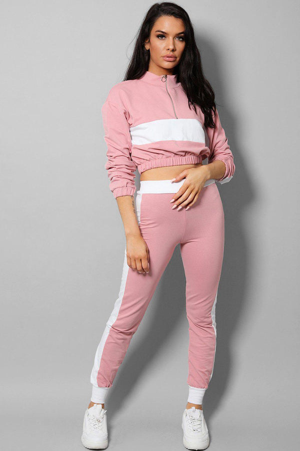 White Racer Stripe Pink Two Piece Tracksuit-SinglePrice