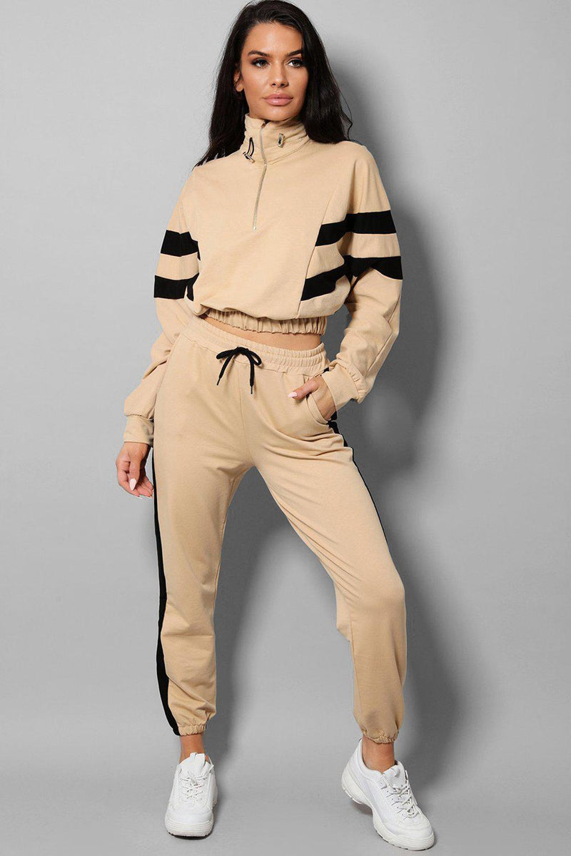 Beige Stripe Details Racer Two Piece Tracksuit - SinglePrice