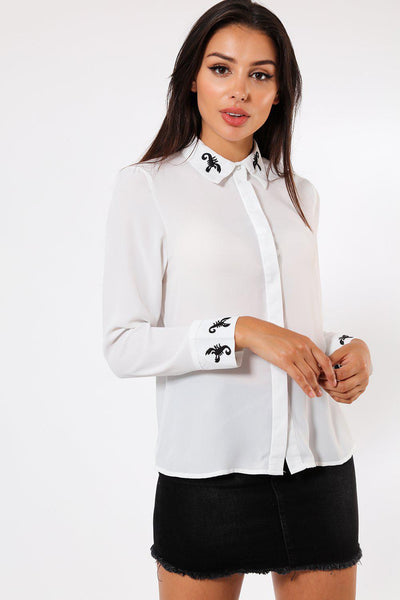 Black Scorpion Details White Blouse-SinglePrice