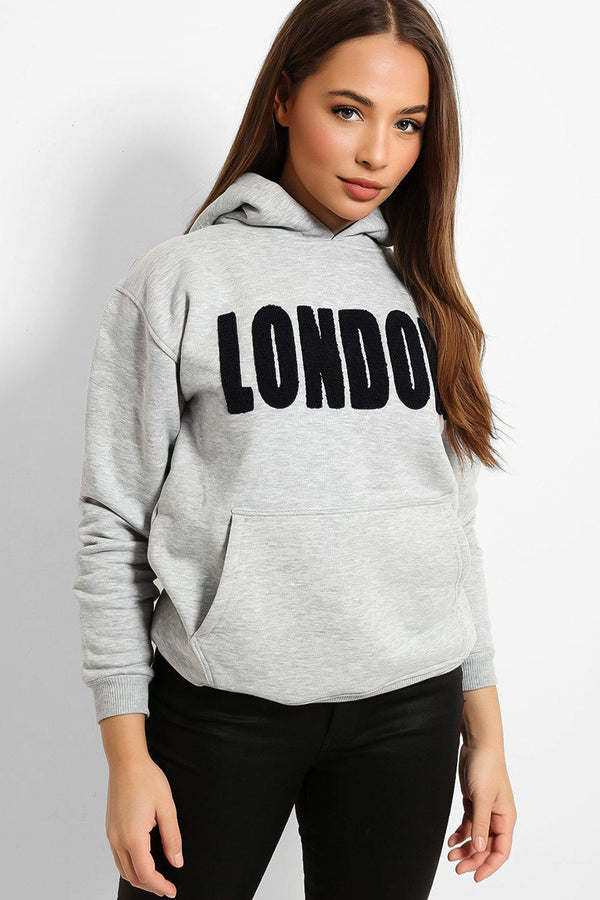 Grey Fluffy LONODN Slogan Hooded Sweatshirt