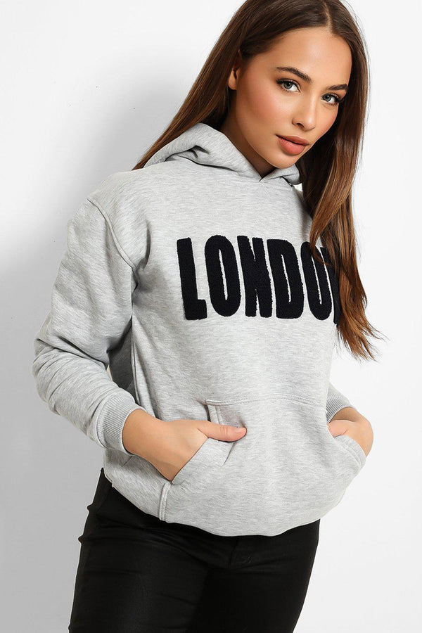 Grey Fluffy LONODN Slogan Hooded Sweatshirt - SinglePrice