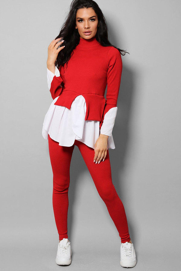 Red Ribbed Shirt Hem Pullover Casual Set-SinglePrice