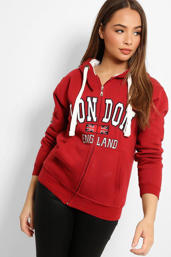 Burgundy White London Zipper Hooded Sweatshirt-SinglePrice