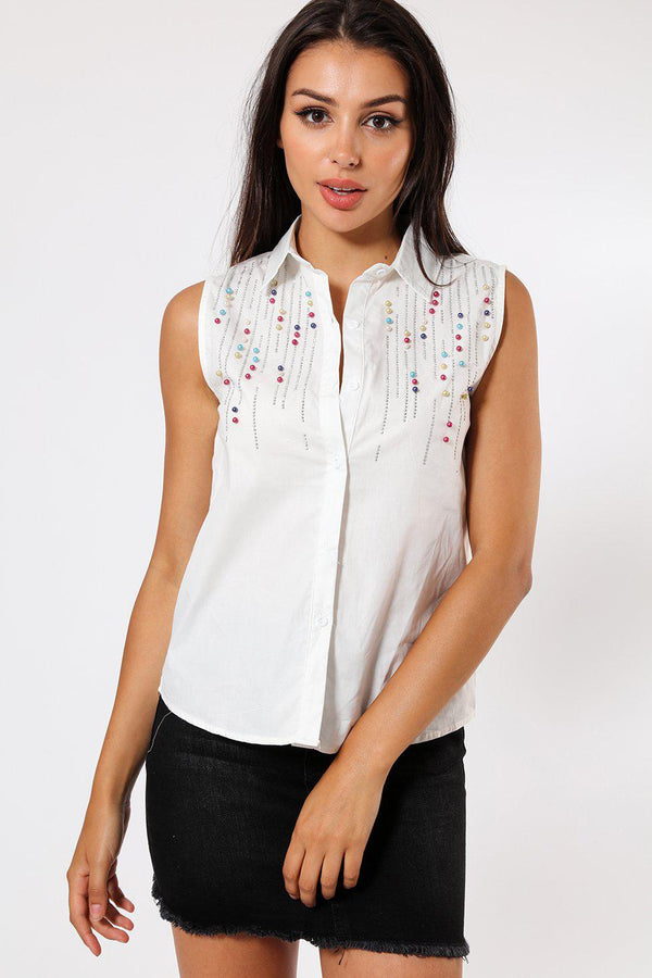 Multicolour Pearls Embellished White Sleeveless Shirt-SinglePrice