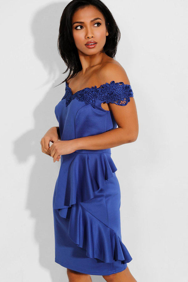 Blue Ruffle Details Lace Off Shoulder Midi Dress - SinglePrice