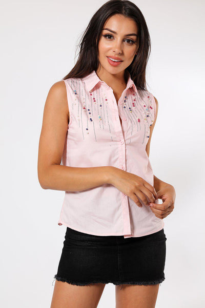 Multicolour Pearls Embellished Pink Sleeveless Shirt-SinglePrice
