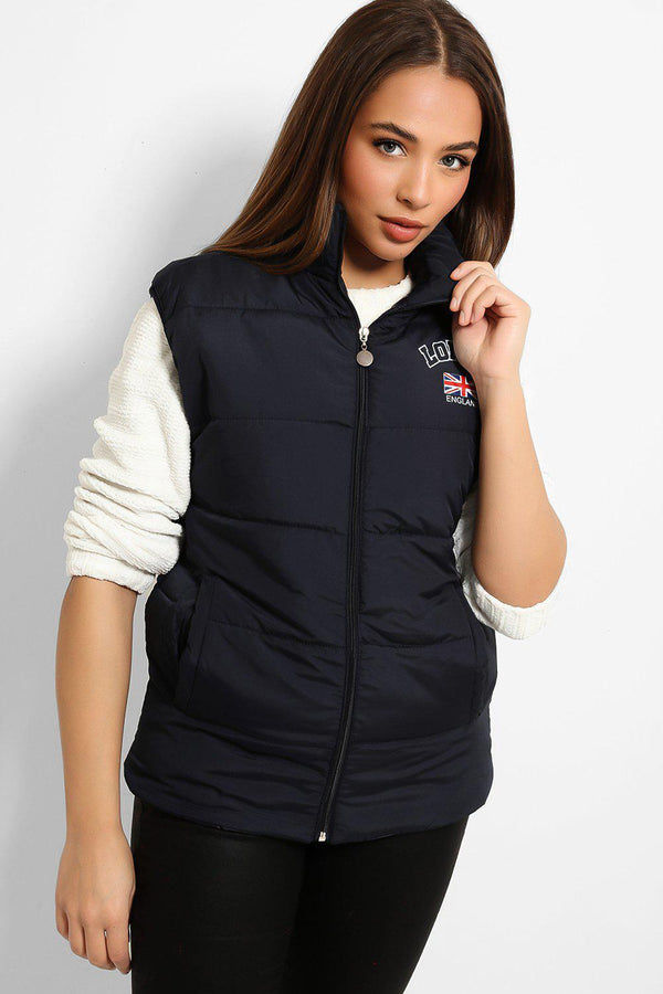 Navy London Padded Gilet-SinglePrice