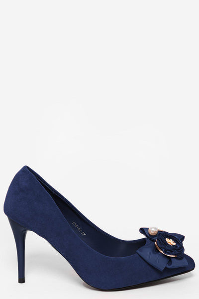 Rose Detail Navy Suedette Heels