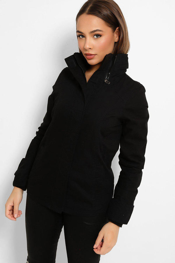 Black Zip Collar Detail Utility Cotton Twill Jacket-SinglePrice