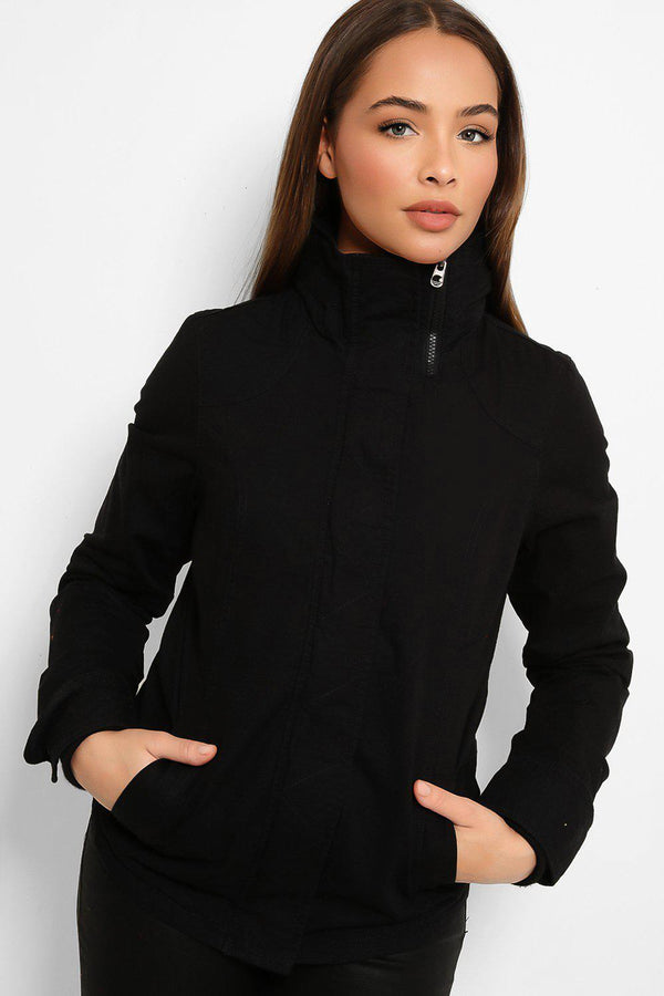 Black Zip Collar Detail Utility Cotton Twill Jacket