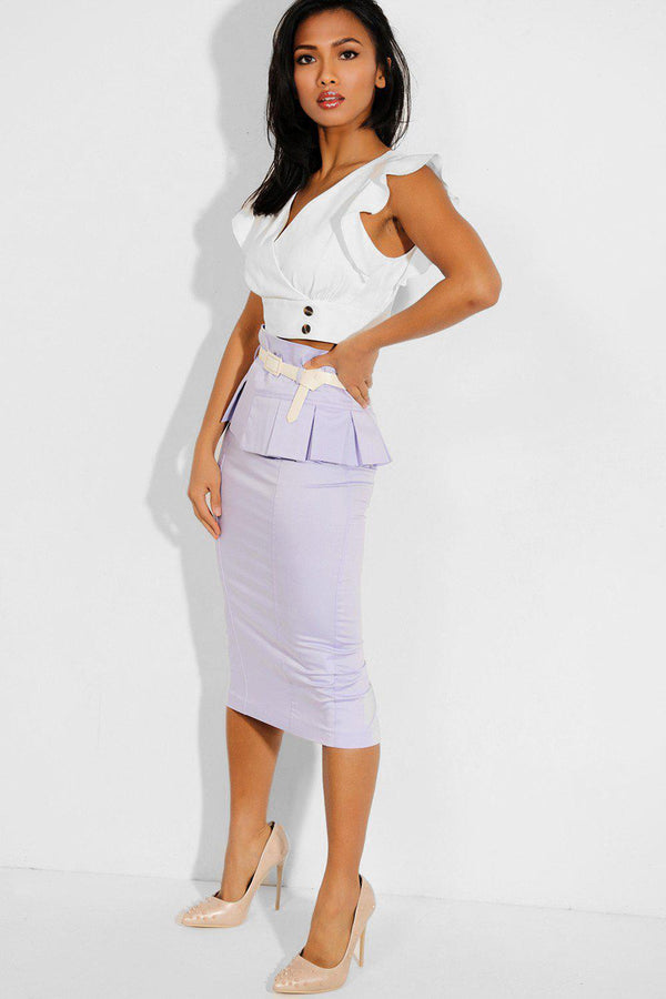 Lilac Belted Peplum Waist Pencil Skirt - SinglePrice