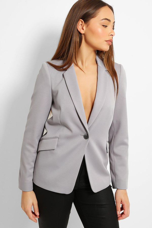 Grey White Polka Dot Lining Single Button Blazer