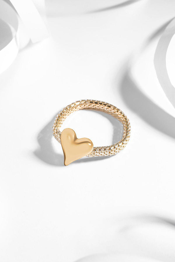 Gold Large Heart Stretch Bracelet-SinglePrice