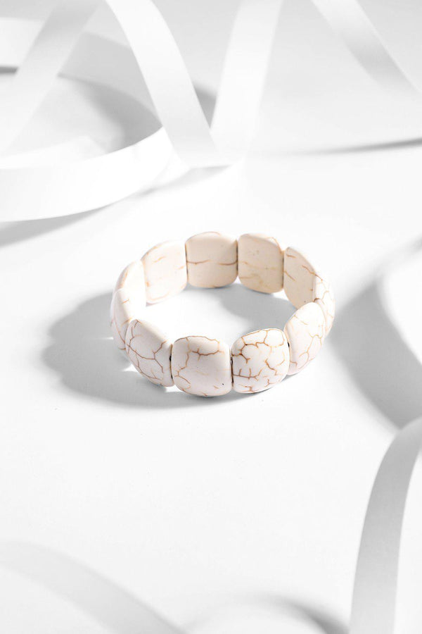 White Turquoise Square Beads Stretch Bracelet-SinglePrice